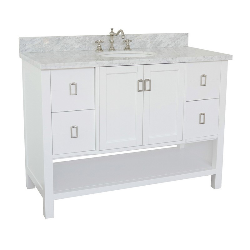 BELLATERRA 400300-WH-WMO MONTEREY 49 INCH SINGLE VANITY IN WHITE WITH WHITE CARRARA TOP AND OVAL SINK