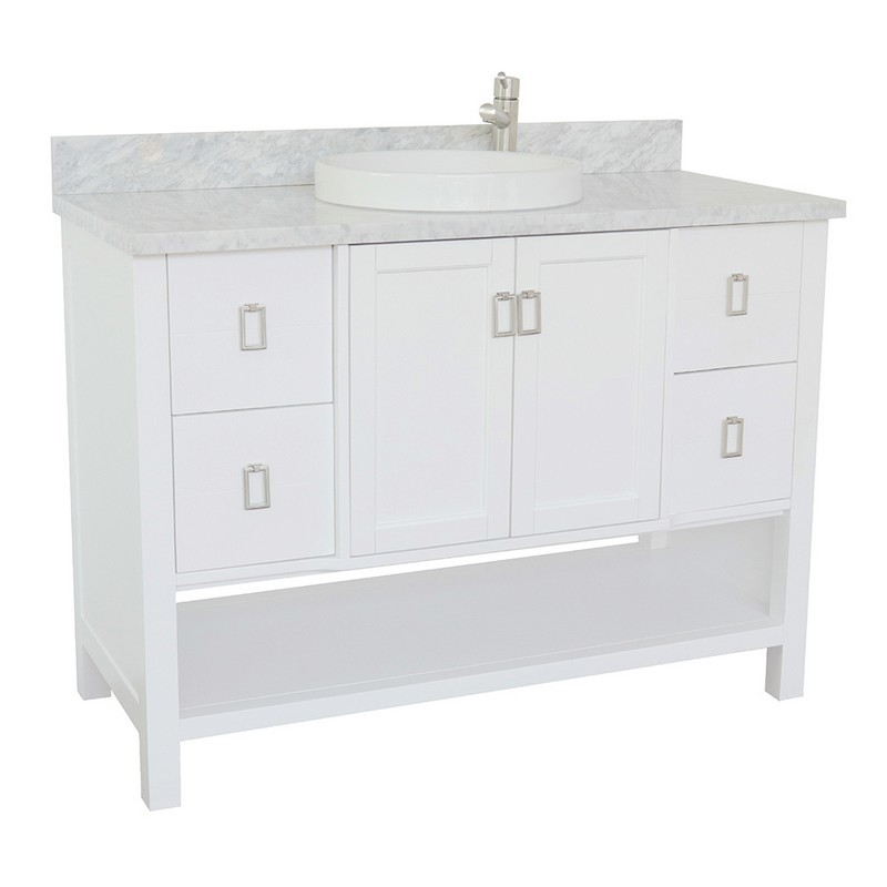 BELLATERRA 400300-WH-WMRD MONTEREY 49 INCH SINGLE VANITY IN WHITE WITH WHITE CARRARA TOP AND ROUND SINK