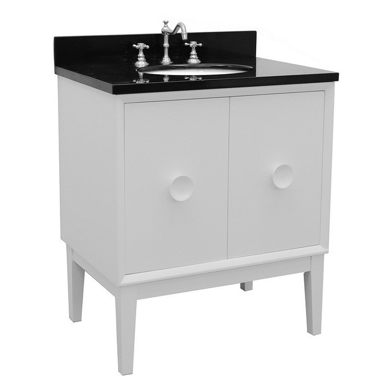 BELLATERRA 400400-WH-BGO STORA 31 INCH SINGLE VANITY IN WHITE WITH BLACK GALAXY TOP AND OVAL SINK