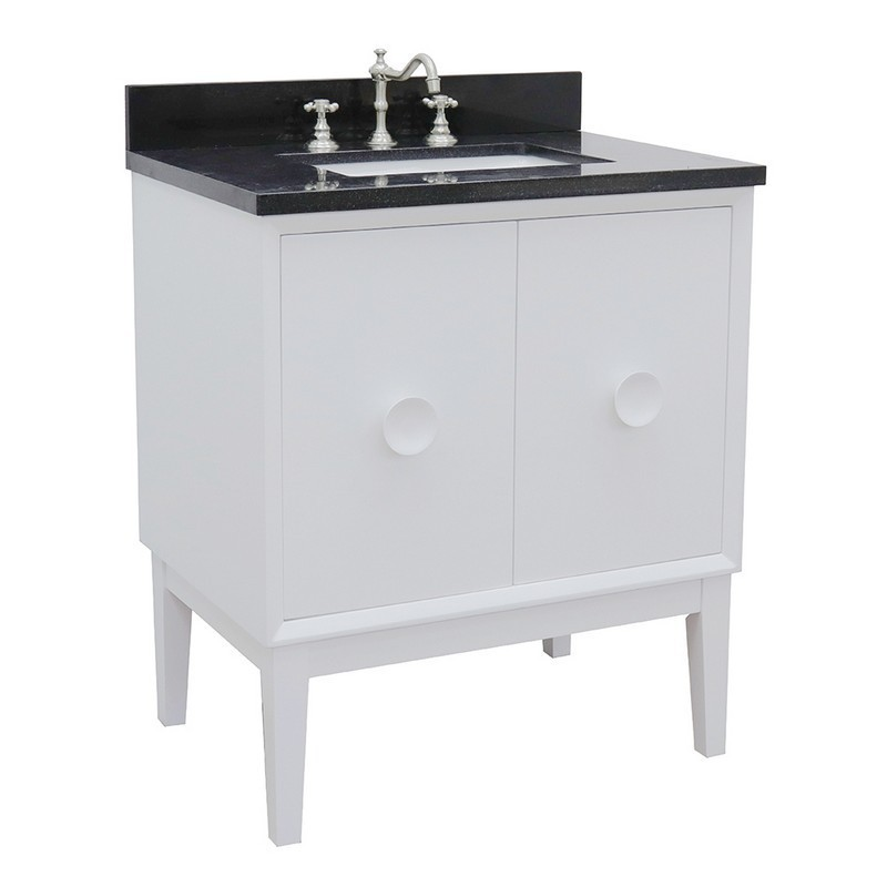 BELLATERRA 400400-WH-BGR STORA 31 INCH SINGLE VANITY IN WHITE WITH BLACK GALAXY TOP AND RECTANGLE SINK