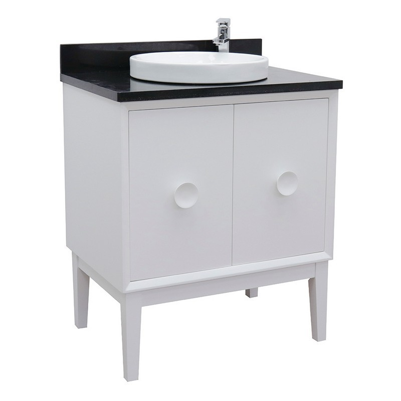 BELLATERRA 400400-WH-BGRD STORA 31 INCH SINGLE VANITY IN WHITE WITH BLACK GALAXY TOP AND ROUND SINK