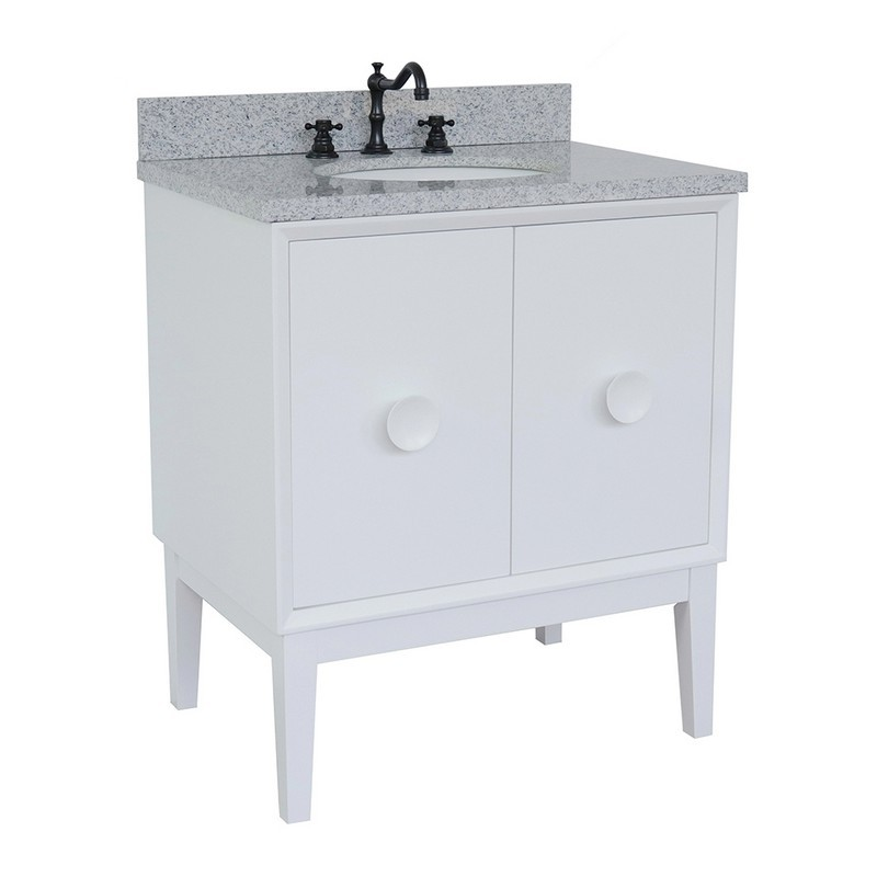 BELLATERRA 400400-WH-GYO STORA 31 INCH SINGLE VANITY IN WHITE WITH GRAY GRANITE TOP AND OVAL SINK