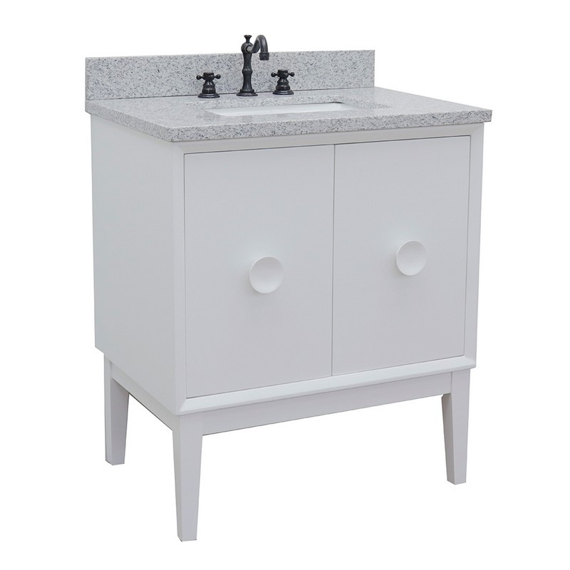 BELLATERRA 400400-WH-GYR STORA 31 INCH SINGLE VANITY IN WHITE WITH GRAY GRANITE TOP AND RECTANGLE SINK