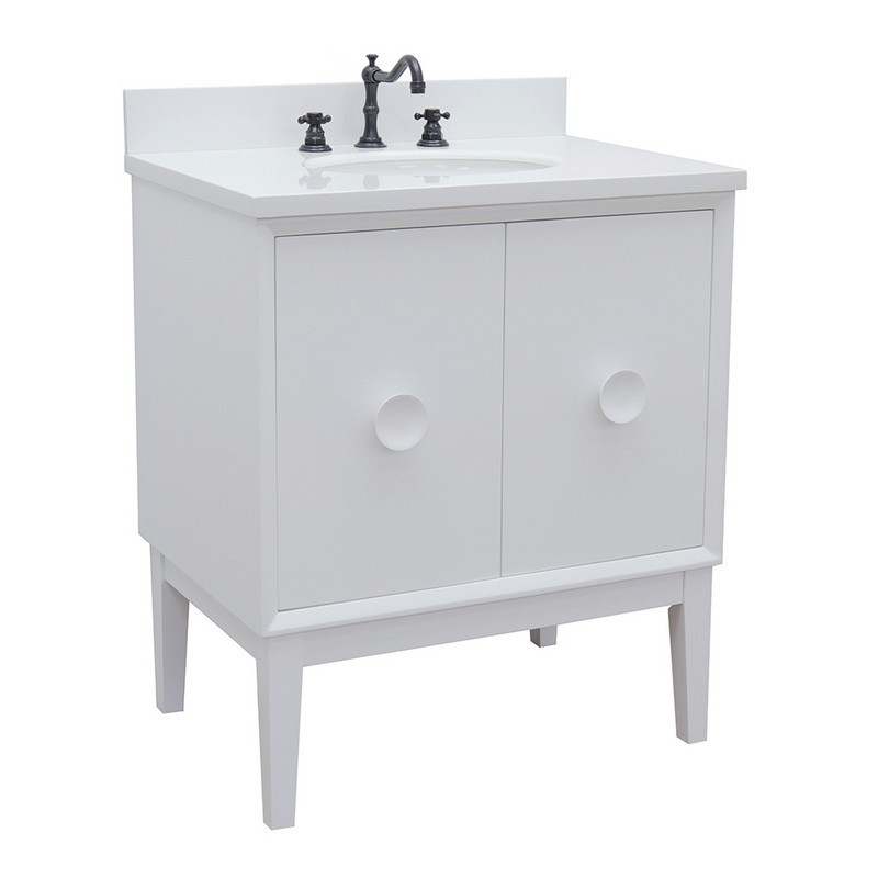 BELLATERRA 400400-WH-WEO STORA 31 INCH SINGLE VANITY IN WHITE WITH WHITE QUARTZ TOP AND OVAL SINK