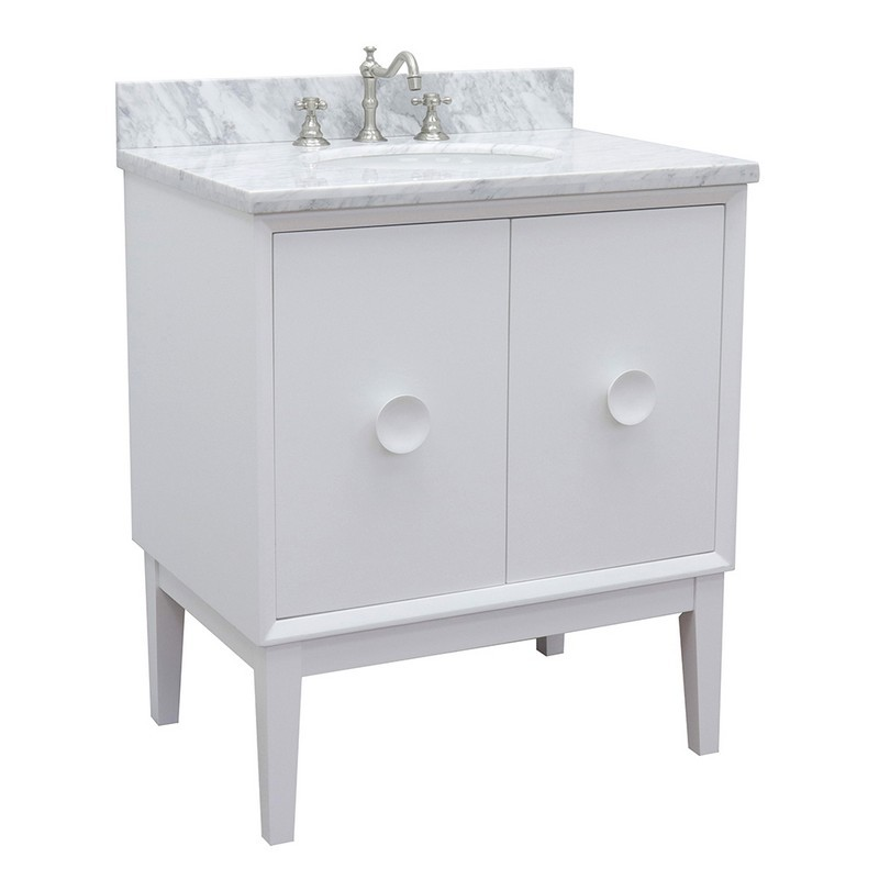 BELLATERRA 400400-WH-WMO STORA 31 INCH SINGLE VANITY IN WHITE WITH WHITE CARRARA TOP AND OVAL SINK
