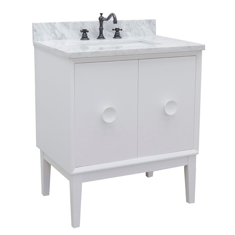 BELLATERRA 400400-WH-WMR STORA 31 INCH SINGLE VANITY IN WHITE WITH WHITE CARRARA TOP AND RECTANGLE SINK