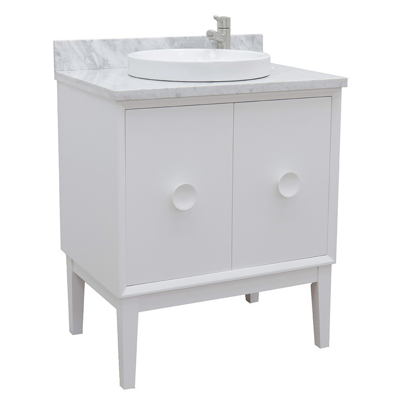 BELLATERRA 400400-WH-WMRD STORA 31 INCH SINGLE VANITY IN WHITE WITH WHITE CARRARA TOP AND ROUND SINK