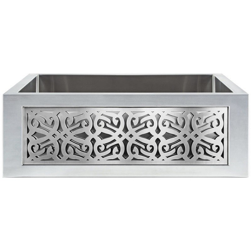 LINKASINK C071-30 SS PNL106 INSET APRON COLLECTION 30 INCH UNDERMOUNT FARM HOUSE STAINLESS STEEL KITCHEN SINK WITH TRIBAL PANEL