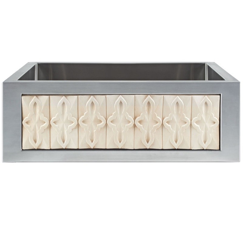 LINKASINK C071-30 SS PNL301 INSET APRON COLLECTION 30 INCH UNDERMOUNT FARM HOUSE STAINLESS STEEL KITCHEN SINK WITH LARGE TILES PANEL