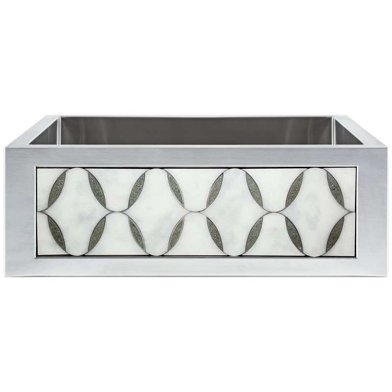 LINKASINK C071-30 SS PNL302 INSET APRON COLLECTION 30 INCH UNDERMOUNT FARM HOUSE STAINLESS STEEL KITCHEN SINK WITH MARBLE OVALS PANEL
