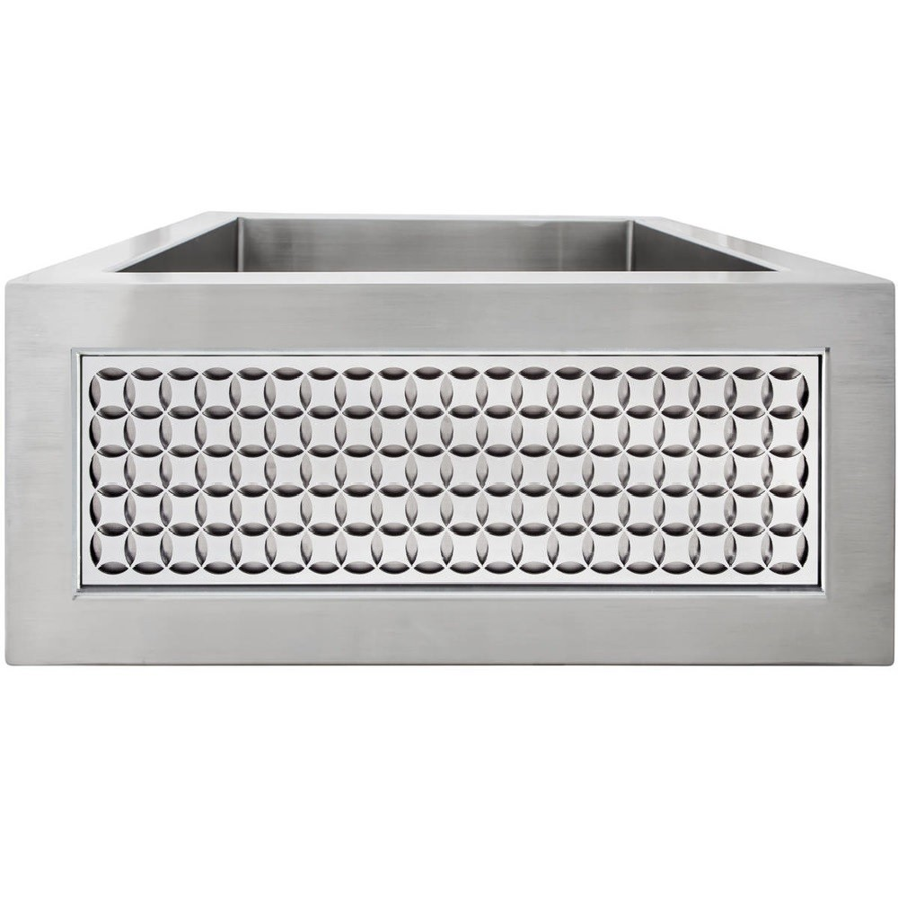 LINKASINK C073-1.5 SS PNLS103 INSET APRON COLLECTION 18 INCH APRON FRONT STAINLESS STEEL BAR SINK WITH SMALL CIRCLES PANEL