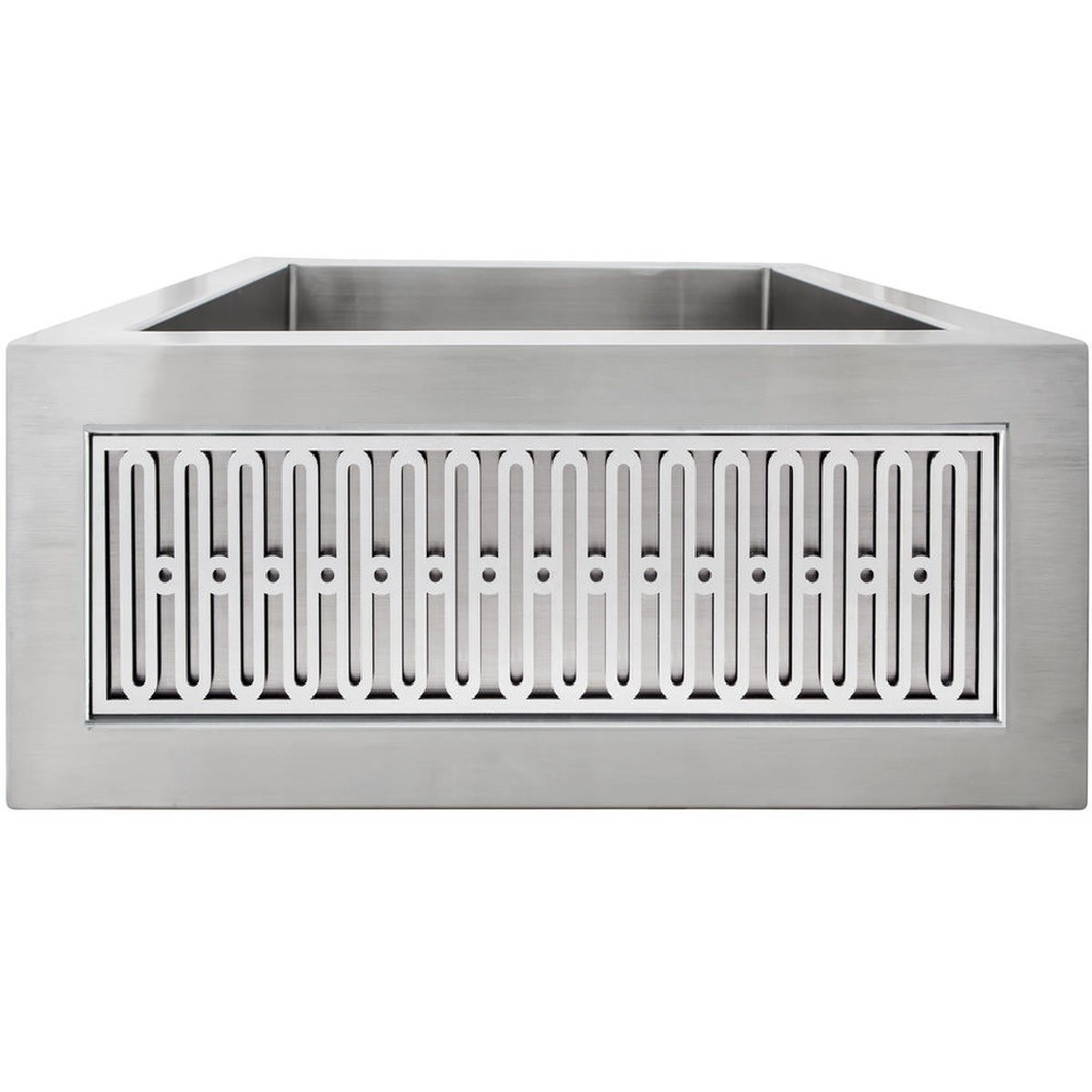 LINKASINK C073-1.5 SS PNLS104 INSET APRON COLLECTION 18 INCH APRON FRONT STAINLESS STEEL BAR SINK WITH SMALL VERSAILLES PANEL
