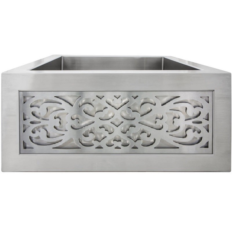 LINKASINK C073-3.5 SS PNLS105 INSET APRON COLLECTION 18 INCH APRON FRONT STAINLESS STEEL BAR SINK WITH SMALL FILIGREE PANEL