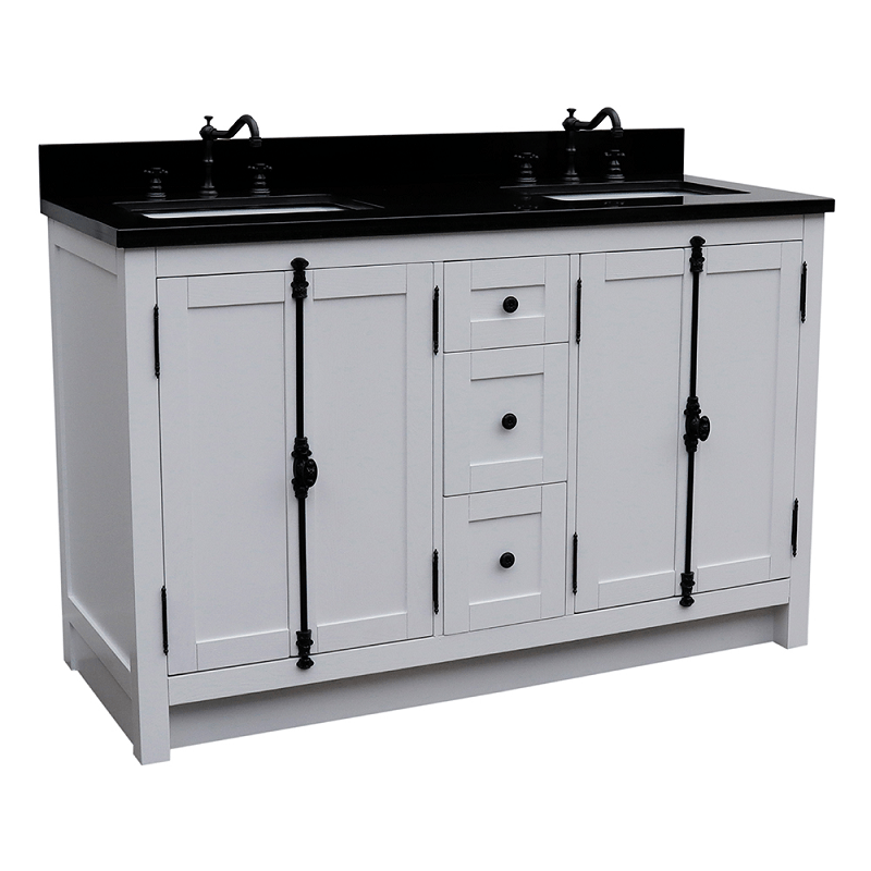 BELLATERRA 400100-55-GA-BG PLANTATION 55 INCH DOUBLE VANITY IN GLACIER ASH WITH BLACK GRANITE TOP AND RECTANGLE SINK