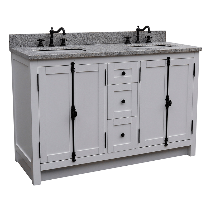 BELLATERRA 400100-55-GA-GY PLANTATION 55 INCH DOUBLE VANITY IN GLACIER ASH WITH GREY GRANITE TOP AND RECTANGLE SINK