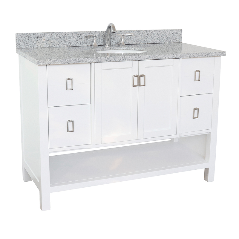 BELLATERRA 400300-WH-GYO MONTEREY 49 INCH SINGLE VANITY IN WHITE WITH GRAY GRANITE TOP AND OVAL SINK