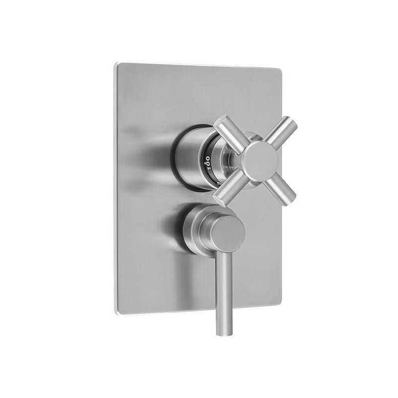 JACLO T6530-TRIM RECTANGLE PLATE WITH CONTEMPO CROSS THERMOSTATIC VALVE AND CONTEMPO LEVER VOLUME CONTROL TRIM FOR 1/2 INCH THERMOSTATIC VALVE WITH INTEGRAL VOLUME CONTROL (J-THVC12)