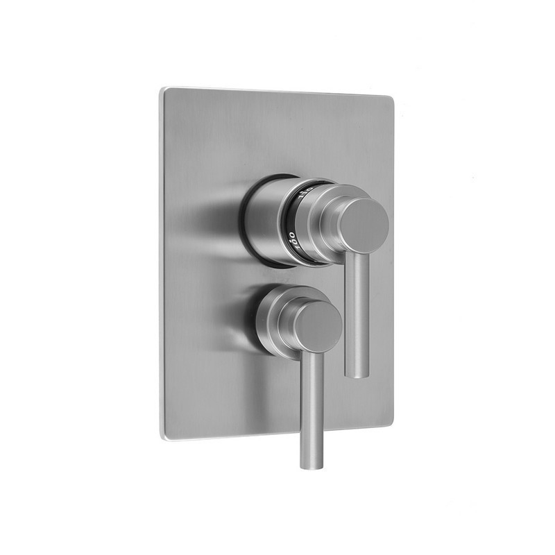 JACLO T6532-TRIM RECTANGLE PLATE WITH CONTEMPO LEVER THERMOSTATIC VALVE AND CONTEMPO LEVER VOLUME CONTROL TRIM FOR 1/2 INCH THERMOSTATIC VALVE WITH INTEGRAL VOLUME CONTROL (J-THVC12)