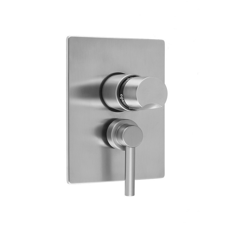 JACLO T6572-TRIM RECTANGLE PLATE WITH THUMB THERMOSTATIC VALVE AND CONTEMPO LOW LEVER VOLUME CONTROL TRIM FOR 1/2 INCH THERMOSTATIC VALVE WITH INTEGRAL VOLUME CONTROL (J-THVC12)