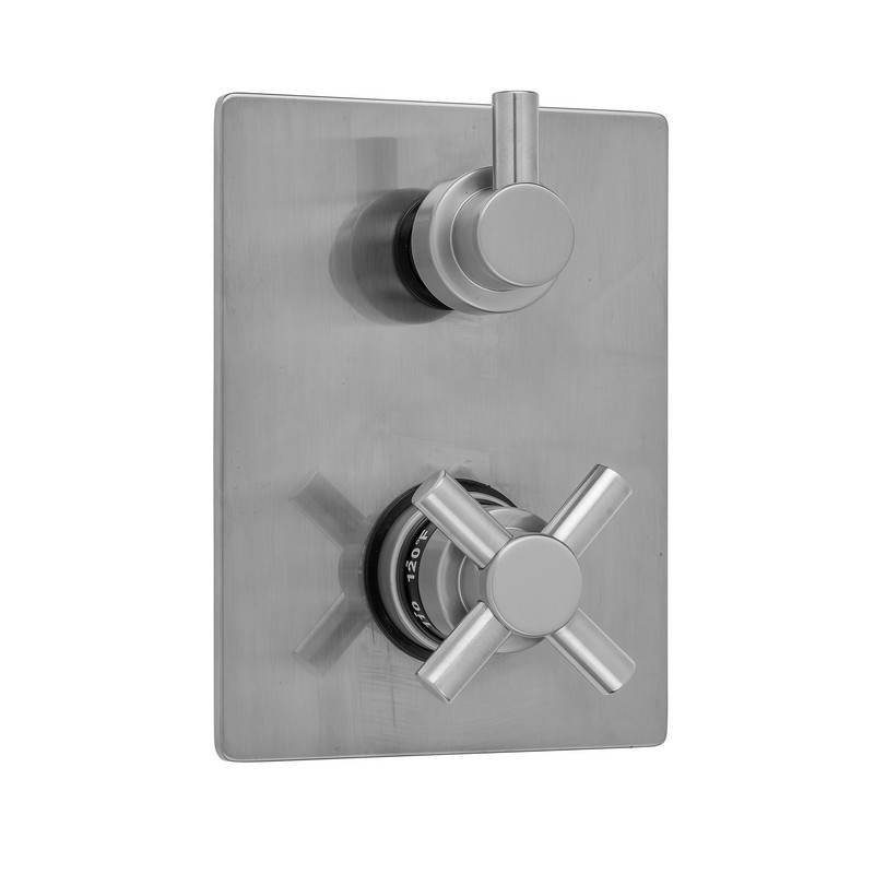JACLO T7535-TRIM RECTANGLE PLATE WITH CONTEMPO CROSS THERMOSTATIC VALVE WITH CONTEMPO SHORT PEG BUILT-IN 2-WAY OR 3-WAY DIVERTER/VOLUME CONTROLS (J-TH34-686 / J-TH34-687 / J-TH34-688 / J-TH34-689)