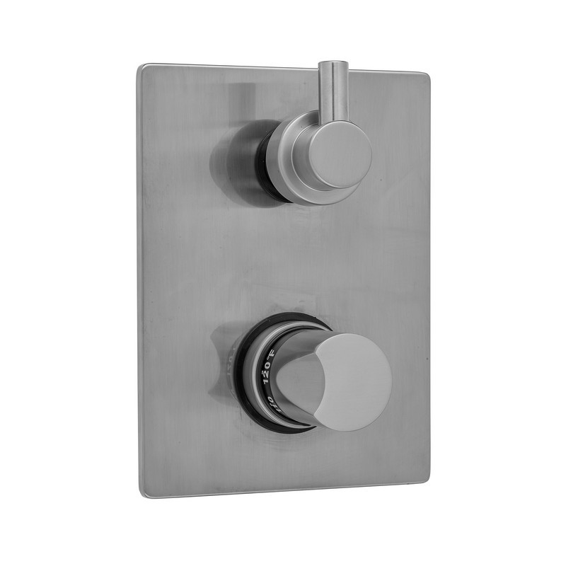 JACLO T7539-TRIM RECTANGLE PLATE WITH THUMB THERMOSTATIC VALVE WITH CONTEMPO SHORT PEG LEVER BUILT-IN 2-WAY OR 3-WAY DIVERTER/VOLUME CONTROLS (J-TH34-686 / J-TH34-687 / J-TH34-688 / J-TH34-689)