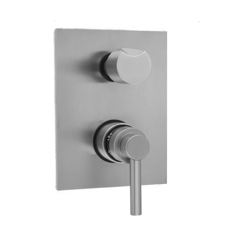 JACLO T7572-TRIM RECTANGLE PLATE WITH CONTEMPO LOW LEVER THERMOSTATIC VALVE WITH THUMB BUILT-IN 2-WAY OR 3-WAY DIVERTER/VOLUME CONTROLS (J-TH34-686 / J-TH34-687 / J-TH34-688 / J-TH34-689)