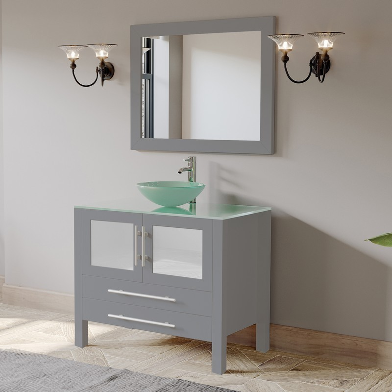 CAMBRIDGE PLUMBING 8111B-G GREY 36 INCH SINGLE SINK GLASS COUNTERTOP VANITY SET