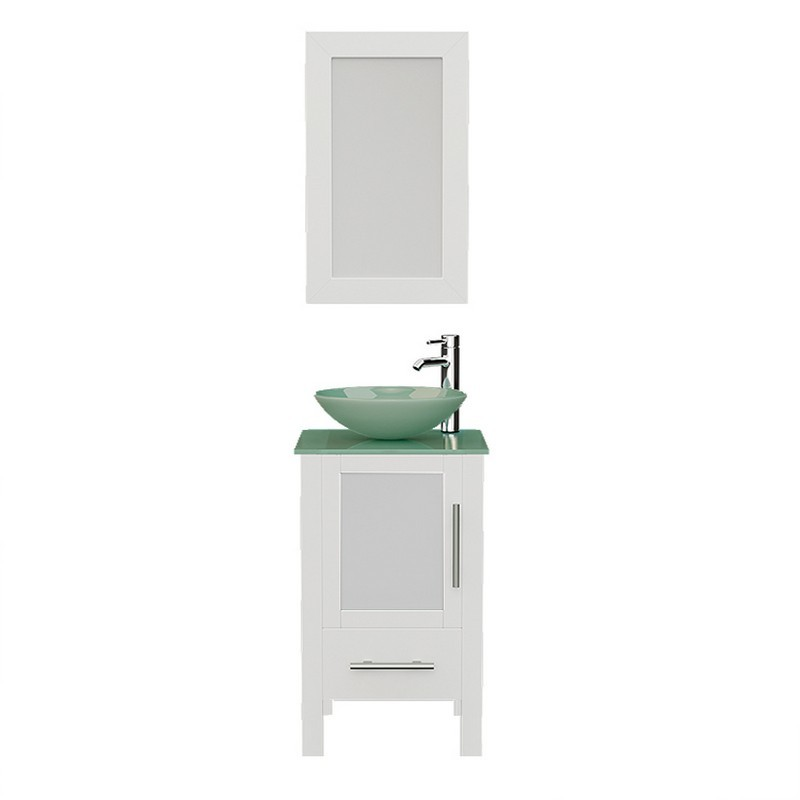 8137bw 18 Inch Free Standing Wood And Glass Single Vessel Sink Bathroom Vanity Set In White 8137bw Bn 18 Inch Free