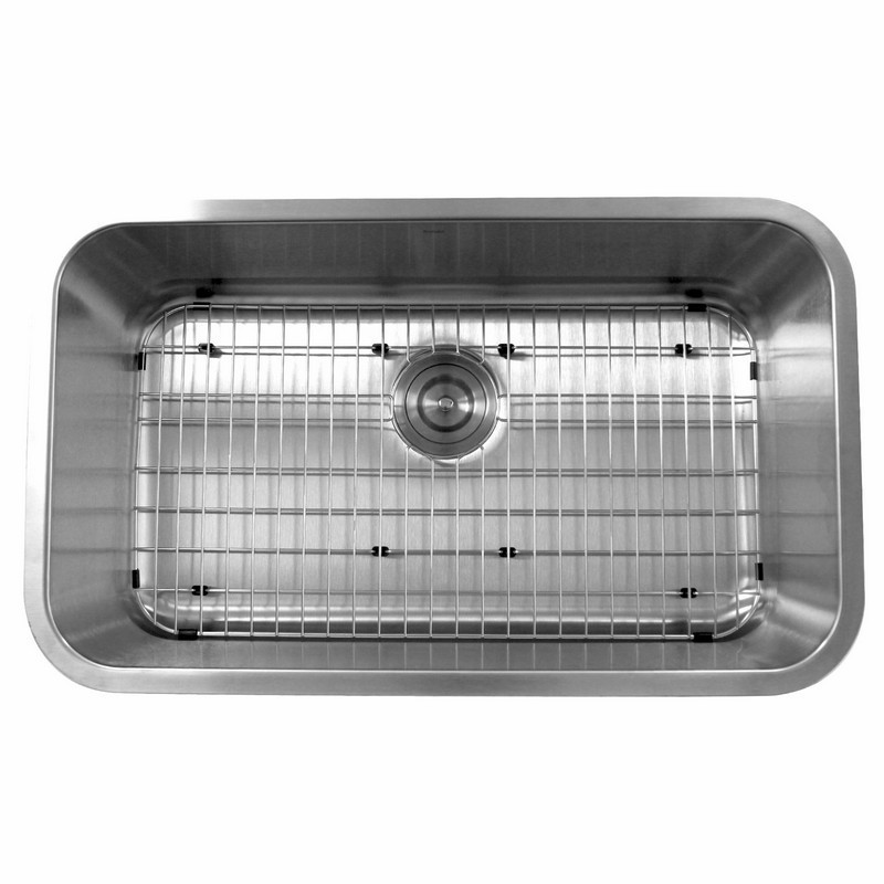 NANATUCKET SINKS NS3018-9-16 SCONSET COLLECTION 30 INCH LARGE RECTANGLE 16 GAUGE SINGLE BOWL UNDERMOUNT STAINLESS STEEL KITCHEN SINK