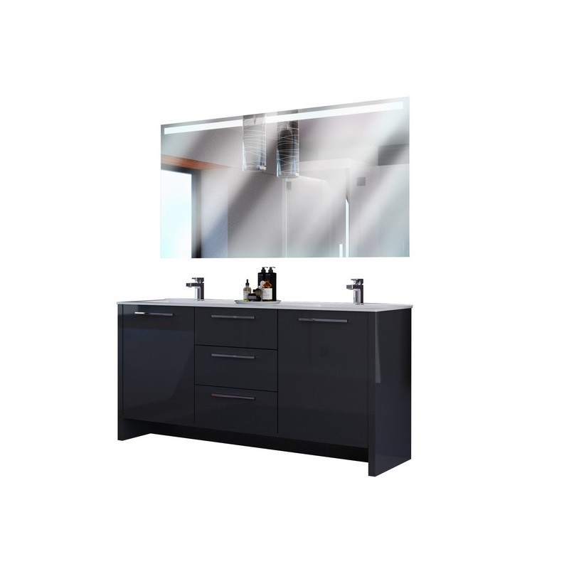 CASA MARE NONA180GG-71 NONA 71 INCH INCH DOUBLE SINK MODERN FREE STANDING BATHROOM VANITY SET WITH MIRROR IN GLOSSY GREY