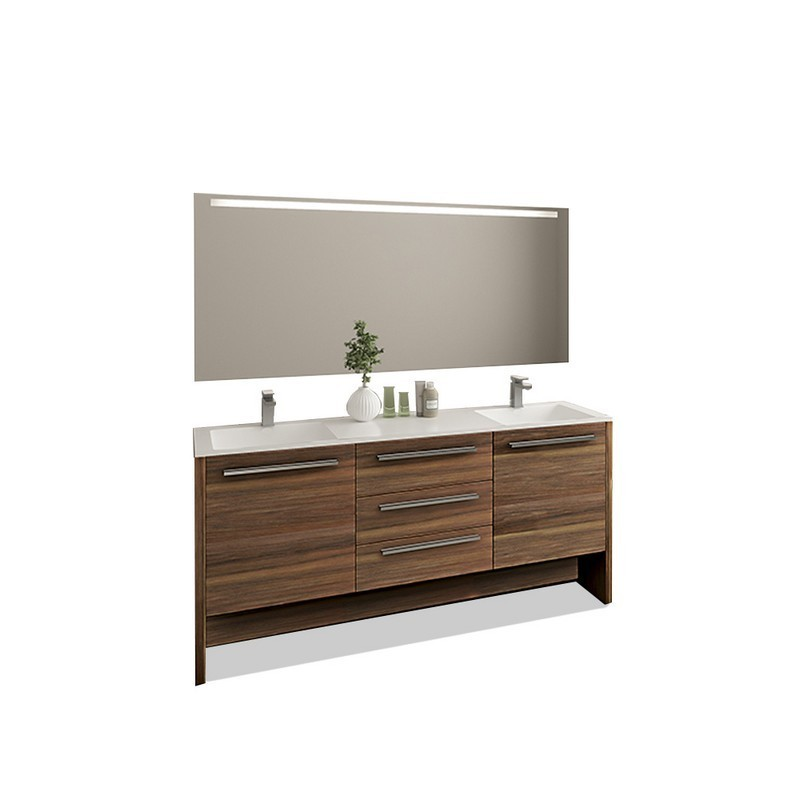 CASA MARE NONA180MW-71 NONA 71 INCH DOUBLE SINK MODERN FREE STANDING BATHROOM VANITY SET WITH MIRROR IN MATTE WALNUT