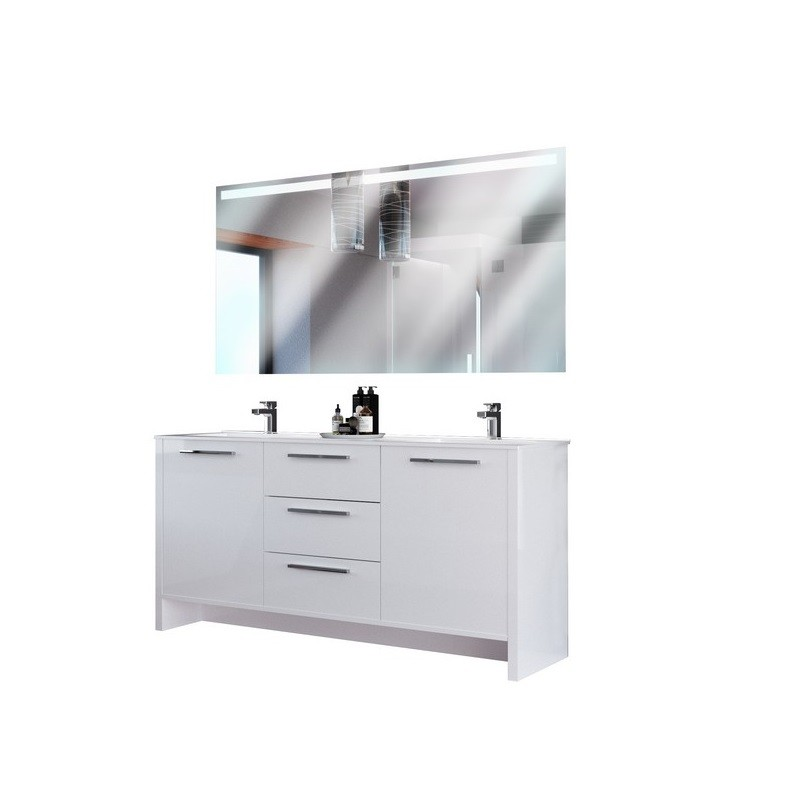 CASA MARE NONA180GW-71 NONA 71 INCH DOUBLE SINK MODERN FREESTANDING BATHROOM VANITY SET WITH MIRROR IN GLOSSY WHITE