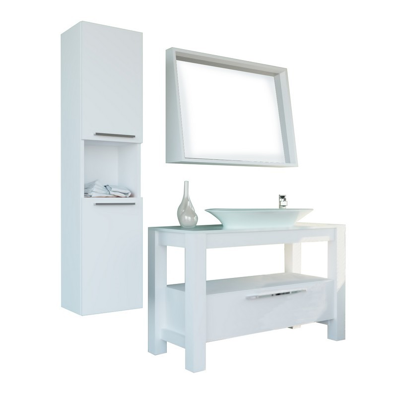 CASA MARE POLLINO120LMW-48 POLLINO 48 INCH SINGLE SINK COUNTRY STYLE FREE STANDING BATHROOM VANITY SET WITH MIRROR IN LACQUER MATTE WHITE