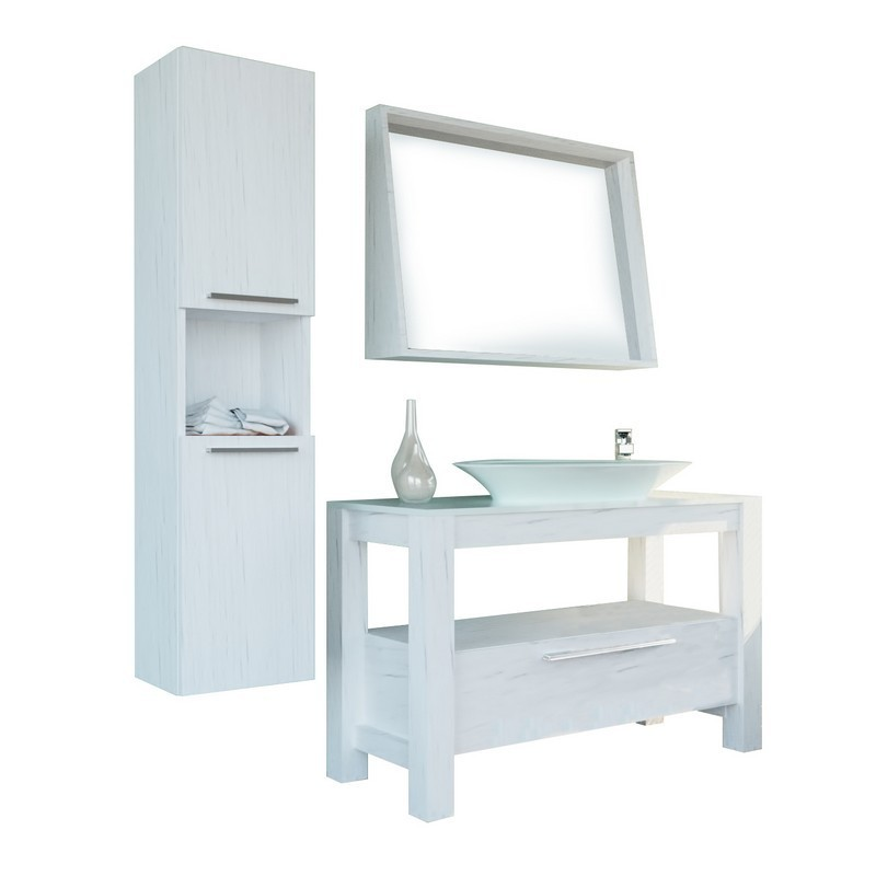 CASA MARE POLLINO120VCW-48 POLLINO 48 INCH VENEER SINGLE SINK COUNTRY STYLE FREE STANDING BATHROOM VANITY SET WITH MIRROR IN COUNTRY WHITE