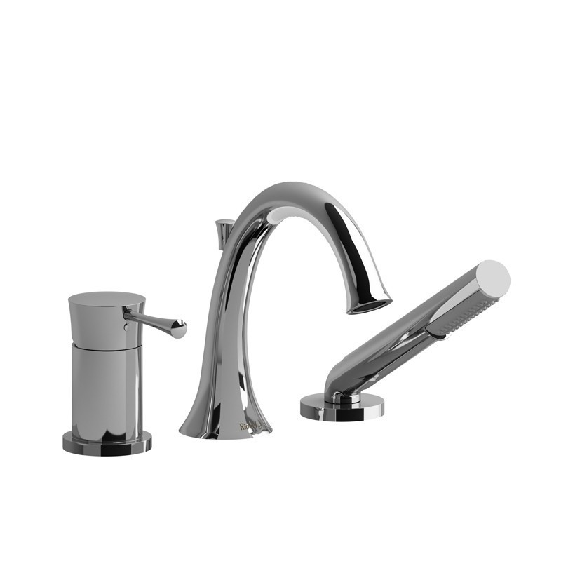 RIOBEL TED16 EDGE 3-PIECE TYPE P (PRESSURE BALANCE) DECK-MOUNT TUB FILLER WITH HAND SHOWER TRIM