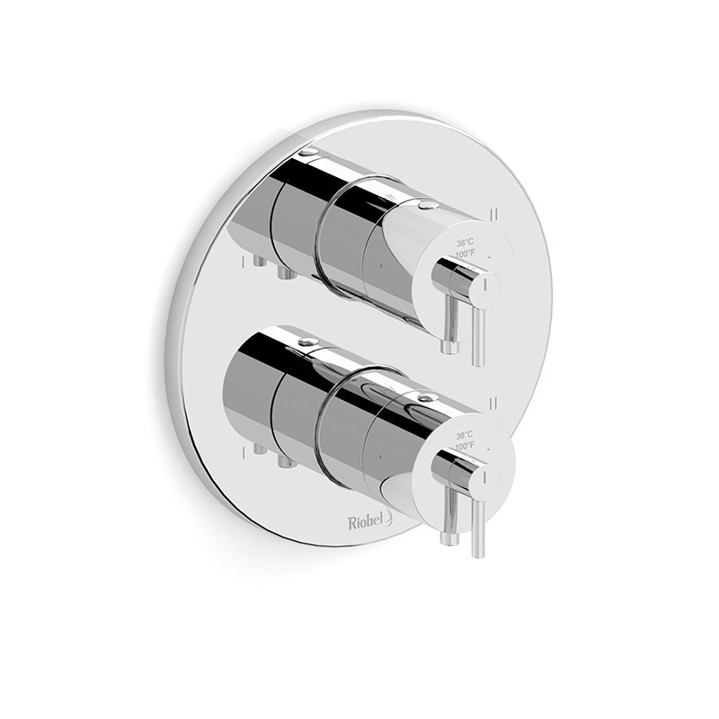 RIOBEL TGS88C 4-WAY NO SHARE TYPE T/P (THERMOSTATIC/PRESSURE BALANCE) COAXIAL VALVE TRIM IN CHROME