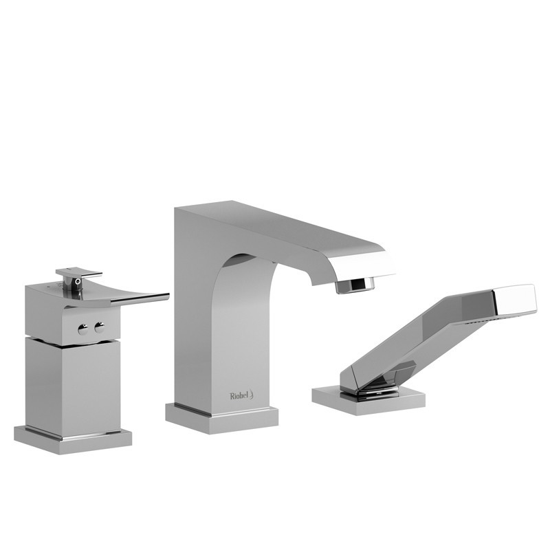 RIOBEL ZO17 ZENDO 3-PIECE TYPE T/P (THERMOSTATIC/PRESSURE BALANCE) COAXIAL DECK-MOUNT TUB FILLER WITH HAND SHOWER