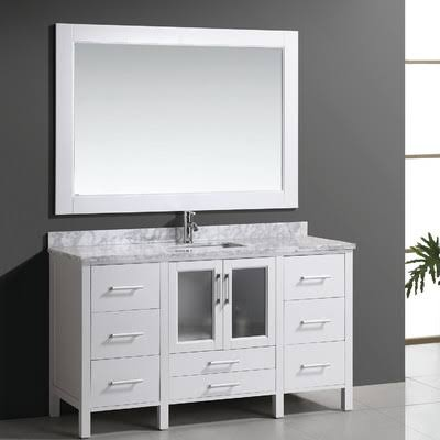 Design Element B60-DS-W Stanton 60 Inch Single Sink Vanity Set with Marble Top In White and Mirror