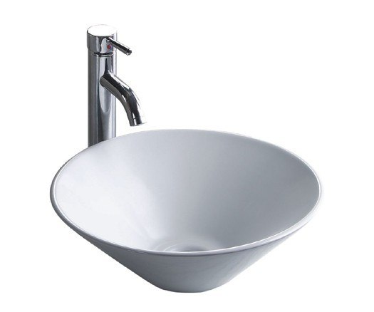 Wells Sinkware CSA1616-6W The China Luxe Collection 16-1/2 Inch Topmount China Lavatory