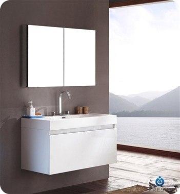 FRESCA FVN8010WH MEZZO 39 INCH WHITE MODERN BATHROOM VANITY WITH MEDICINE CABINET