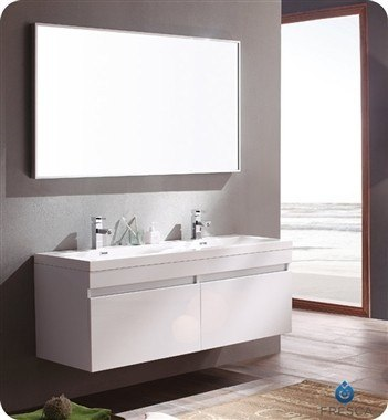 Fresca Fvn8040wh Largo Inch White Modern Bathroom Vanity W Wavy Double Sinks Fresca