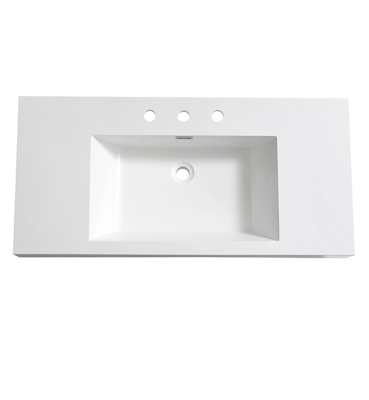 FRESCA FVS8010WH MEZZO 39 INCH WHITE INTEGRATED SINK WITH COUNTERTOP