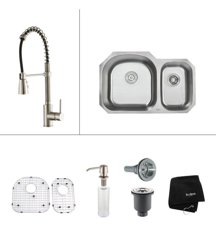KRAUS KBU23-KPF1612-KSD30CH 31 INCH UNDERMOUNT KITCHEN SINK W ... on farmhouse kitchen sink faucet, wall mount kitchen sink faucet, single kitchen sink faucet,