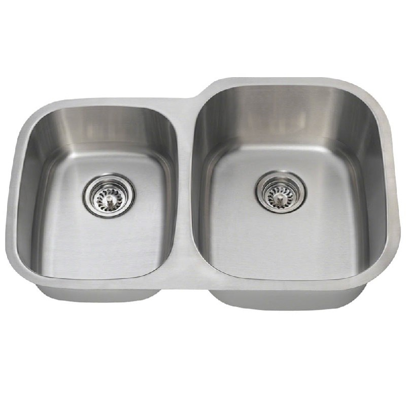 polaris pr305 16 16 gauge double bowl undermount stainless steel rh kbauthority com undermount stainless steel double bowl low divide kitchen sink grohe k700 1.5 bowl undermount stainless steel kitchen sink