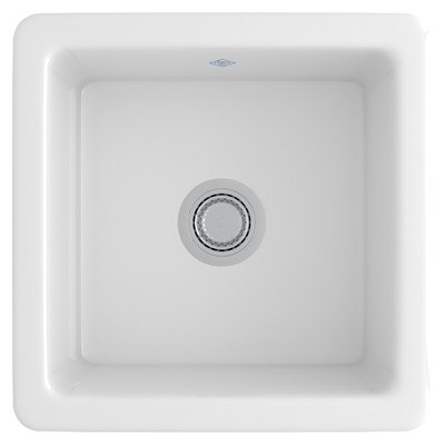 Rohl RC1818 Shaws Classic  18-7/64 Inch Single Bowl Square Fireclay Kitchen or Bar/Food Prep Sink