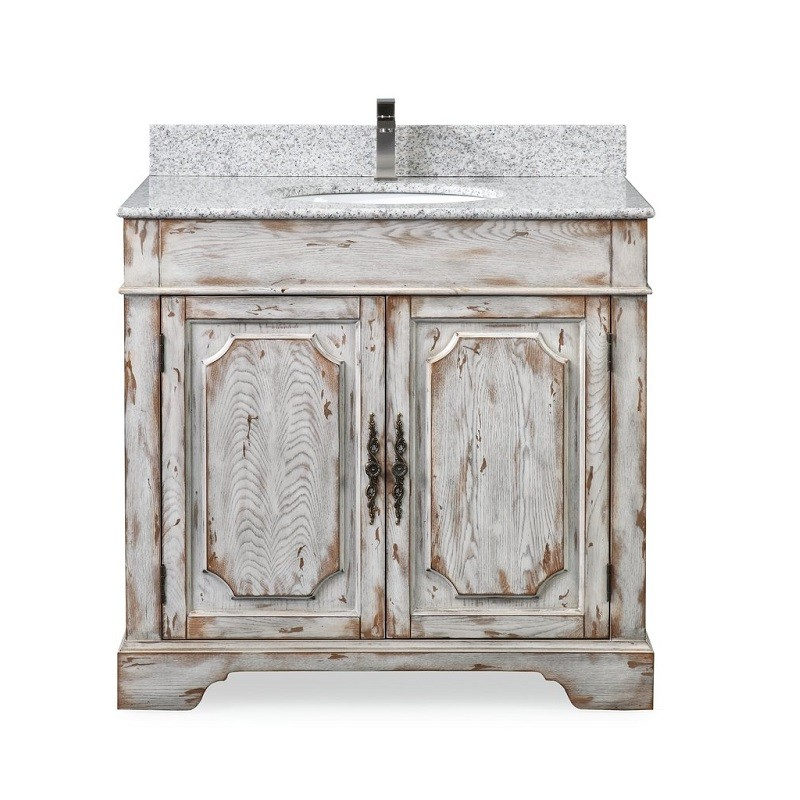 CHANS FURNITURE RX-2215 36 INCH BENTON COLLECTION LITCHFIELD DISTRESSED OFF WHITE RUSTIC STYLE BATHROOM VANITY