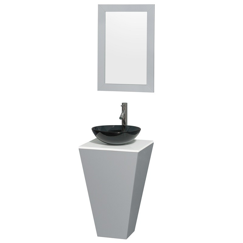Wyndham Collection Wcscs0420sgywsb15m20 Esprit 20 Inch Pedestal Bathroom Vanity In Gray White Man Made Stone