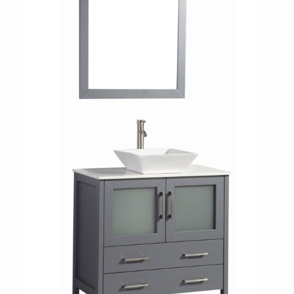 LEGION FURNITURE WA7836DG 36 INCH SOLID WOOD VANITY SET WITH MIRROR IN DARK GRAY, NO FAUCET
