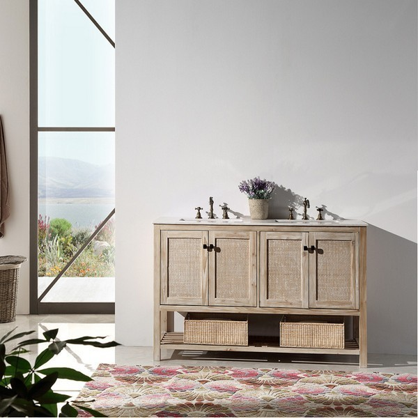 LEGION FURNITURE WH5160 60 INCH SOLID WOOD VANITY IN WHITE WASH WITH MARBLE TOP, NO FAUCET