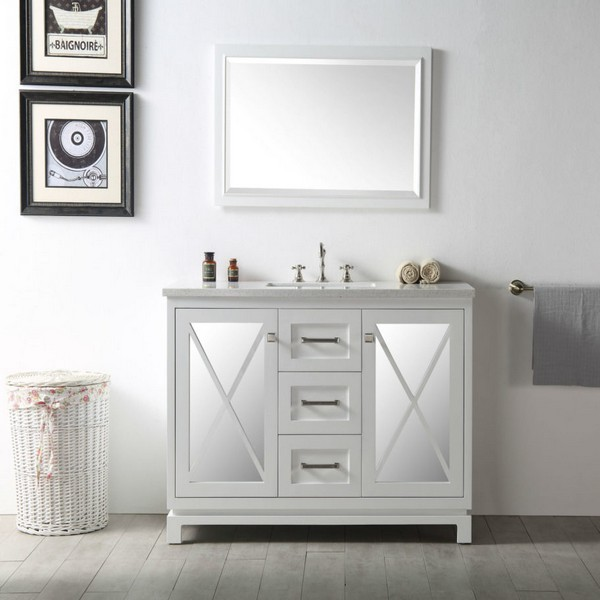 LEGION FURNITURE WH7448-W 48 INCH VANITY IN WHITE WITH QUARTZ TOP, NO FAUCET
